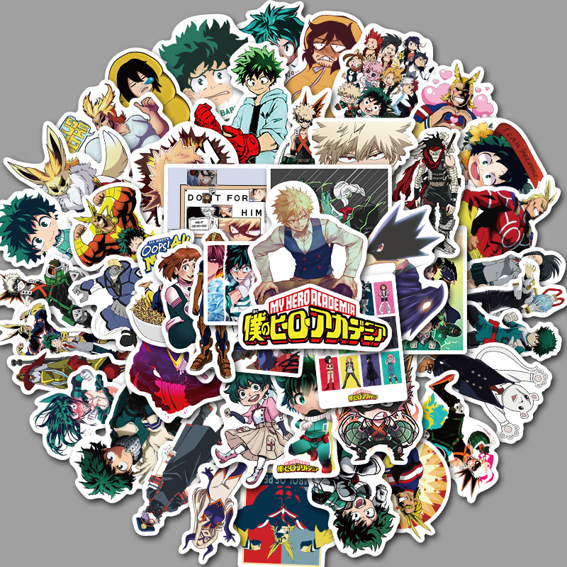<font><b>50</b></font> pieces of Japanese anime, my hero college <font><b>stickers</b></font>, suitcase, motorcycle trolley case, notebook waterproof <font><b>stickers</b></font> image