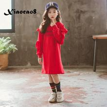 Long sleeve dress for girls red cotton ruffle princess dress kids toddler girl fall clothes girls child winter dresses