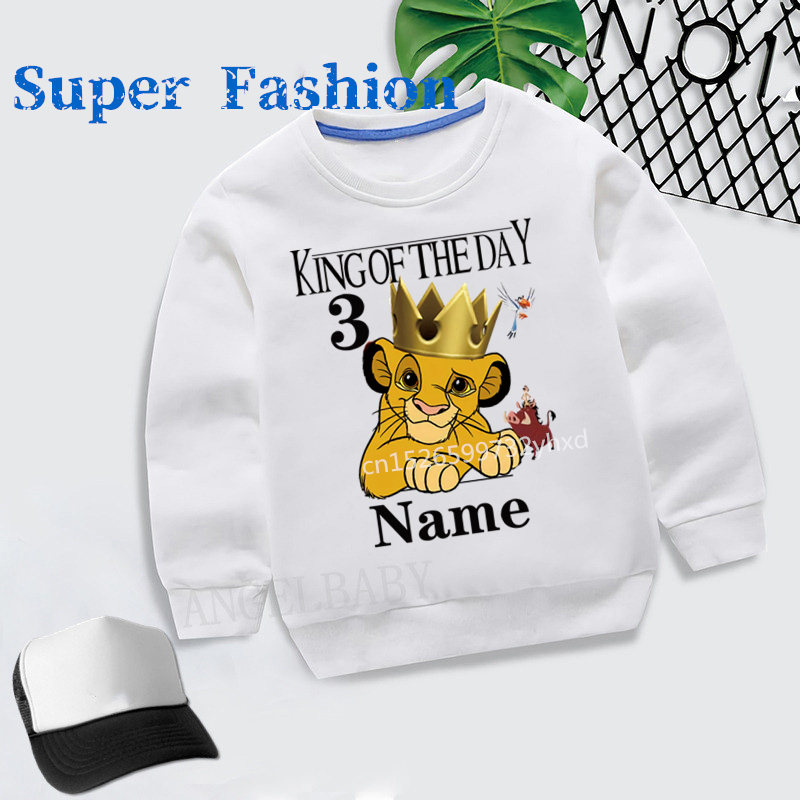 Children 2021 Happy Birthday Number 1~9  Name custom White Hoodies Kids Baby Girls Autumn The lion king Hoodie Sweatshirt,dKYT42
