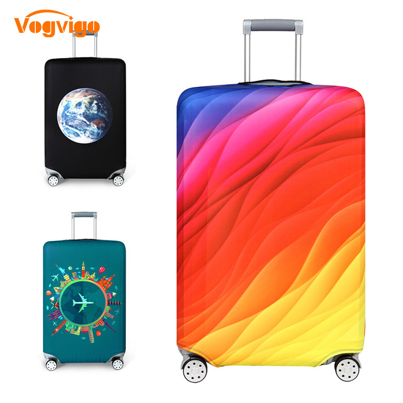 VOGVIGO Thicker Travel Luggage Covers Suitcase Colorful Pattern Case Travel Accessorie Elastic Baggage Cover Apply To 18-32inch
