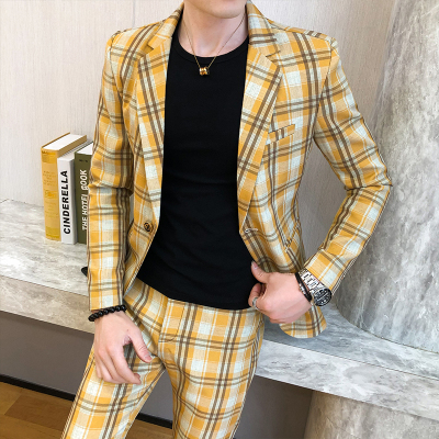 2 Piece Men Complete Suit Set Yellow Vintage Plaid Suits Slim Fit Dress Costume Chinese Suits Boys Tuxedo Fato Masculino 2020