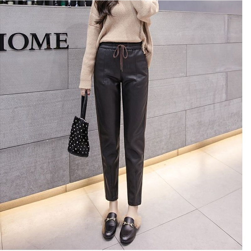 Autumn Women's Leather Pants Women Female Winter High Waisted Pants Leather Trousers Women PU Skinny Pencil Pantalons 2009