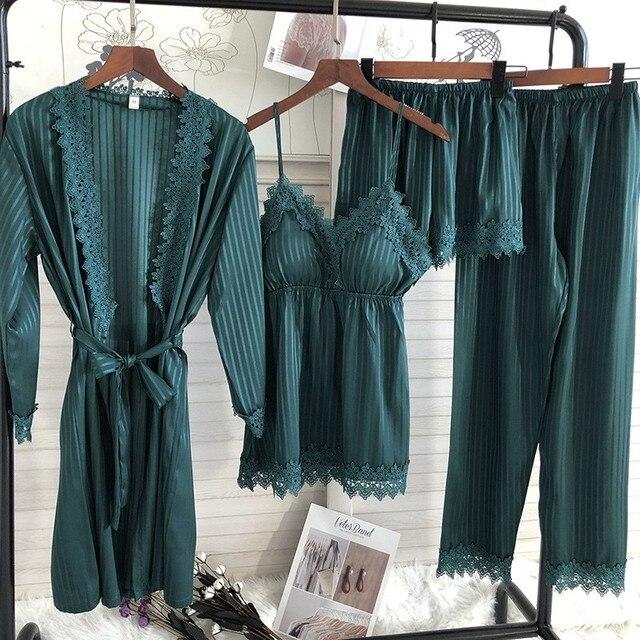 4PCS Kimono Robe Gown Women Lace 3PCS Pajamas Sets 3 Pack Veste Polaire Suit Nightwear Bathrobe Summer Sleepwear