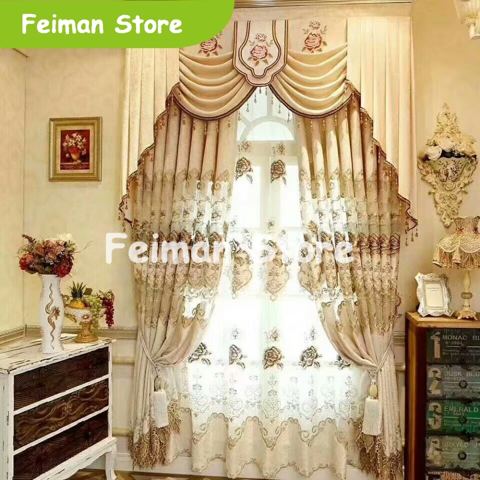 Europe Luxury Embroidery Blackout Curtain For The Living Room Bedroom Curtain Window Blinds For Kitchen Voile Curtain
