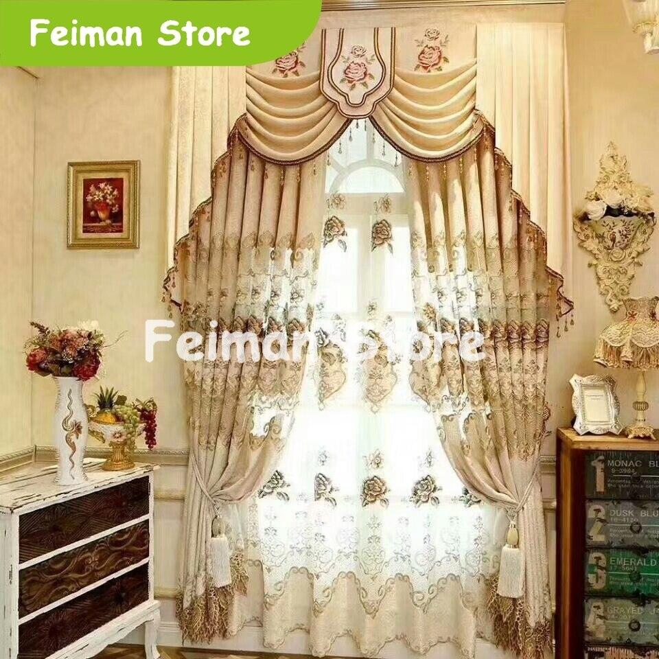 Europe luxe broderie rideau occultant pour le salon chambre rideau fenêtre stores pour rideau de Voile de cuisine