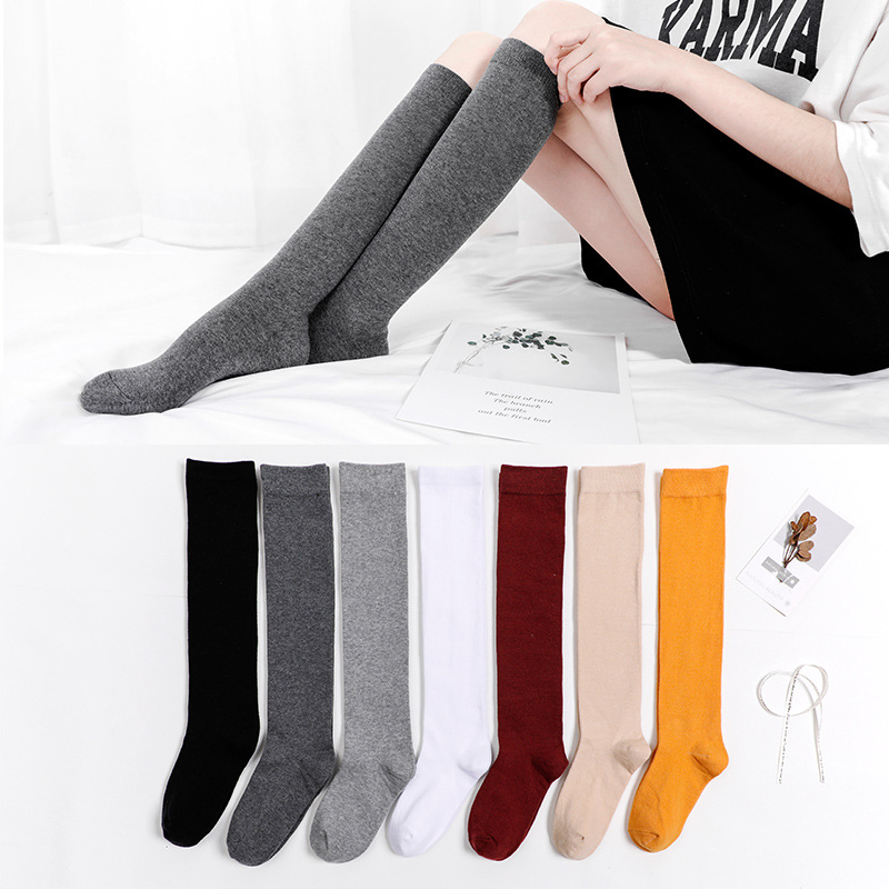 Harajuku Retro Women Cotton Autumn Winter Long Socks Casual Thick Warm Sock Lady Gift White Black Yellow Grey Red School Girl