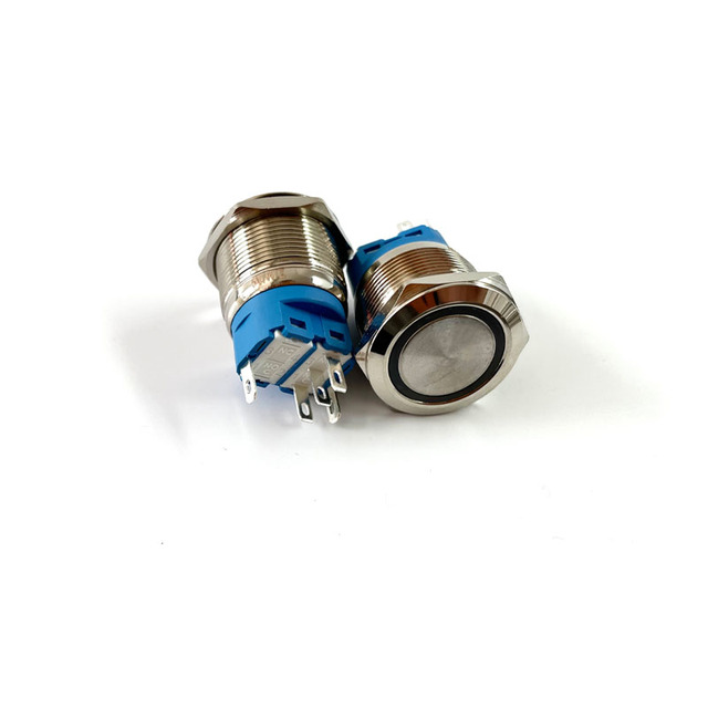 12/16/19/22mm Waterproof Metal Push Button Switch LED Light Momentary Latching Car Engine Power Switch 5V 12V 24V 220V Red Blue 4