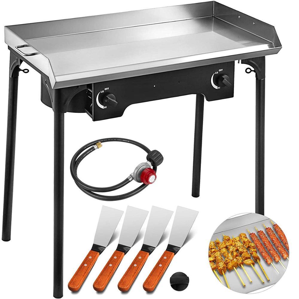 2 quemadores ajustables estufa 32 x 17 estufa de doble quemador plancha plana de acero inoxidable con 4 parrilla espátula y Raspador