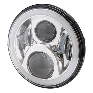 Image 2 - Pair 7 Inch Round LED Headlights High Low Beam White Halo Ring Angel Eyes DRL + Amber Turning Signal Lights for Jeep & Hummer