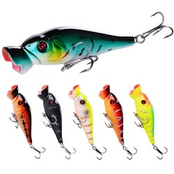 1Pcs Popper Fishing lure 86mm 11.3g Trolling Wobblers Bait Top water bass isca Artificial hard Bait Fishing Tackle