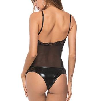 Plus Size Lace Leather Bodysuits  4