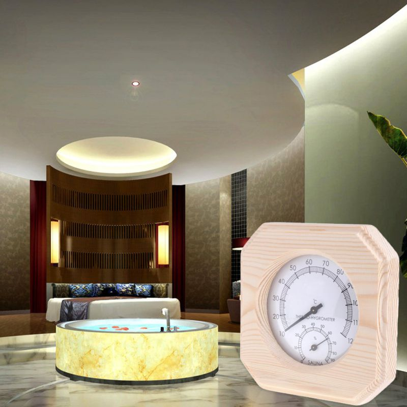 New Wooden Side Sauna Humidity Thermometer Household Sauna Temperature Resistant Accessories without Battery in Temperature Gauges from Home Garden