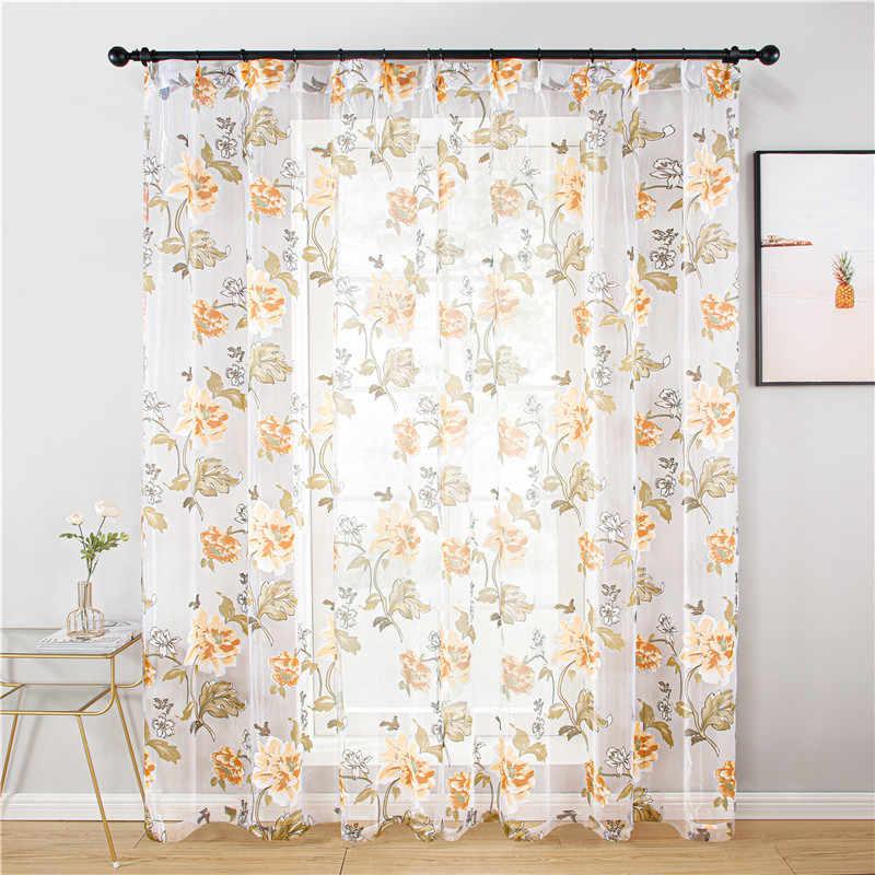 Tende di tulle per soggiorno Floreale tende della finestra tenda pura Camera Da Letto classico tende viola rosa del fiore di formato Personalizzato