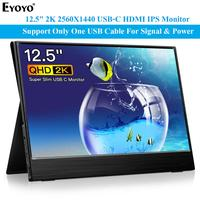 Eyoyo EM12R 2560x1440 12.5 Portable gaming Monitor pc for PS4 Windows 7 8 10 LCD 2K HDMI USB C IPS Screen Ultra Thin Display