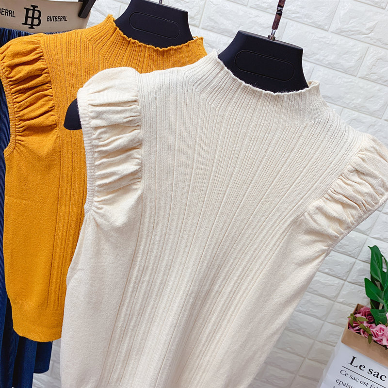 HELIAR Women Tank Tops Summer Knitted Turtleneck Tank Tops Ladies Sexy Slim Tops Female Puff Sleeve Casual Tops For Women Summer 4