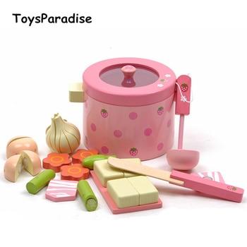 Dropshipping, juguetes para bebés, Chipping de fruta, simulación de verdura, Hot Pot, juguetes de madera, juego de comida, juego de comida, regalo de cumpleaños