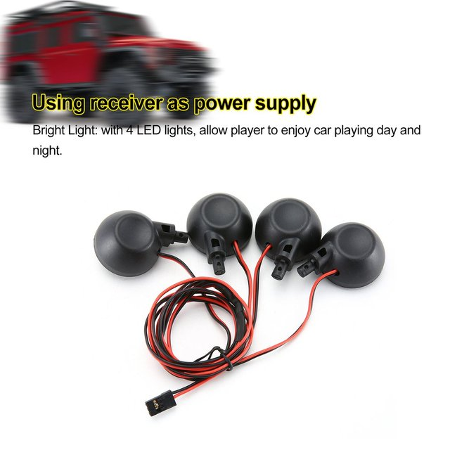 4 LED Lights Receiver Kit Plastic Shell Lotus Headlights for 1/5 HPI BAJA Rovan King Motor 5B RC Car Toy Parts Accessories