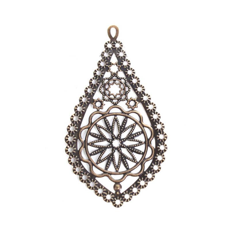 "DoreenBeads โลหะผสมสังกะสี Embellishments DROP Antique Bronze Filigree เครื่องประดับ 78 มม.(3 1/8 "") x 42 มม.(1 5/8 ""),4 PCs"