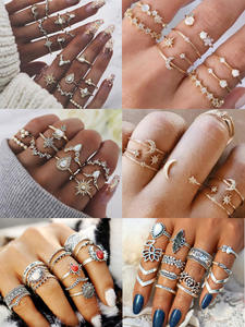 New Boho Acrylic Silver Rings Set For Women Round Female Knuckle Finger Rings 2019 Personality