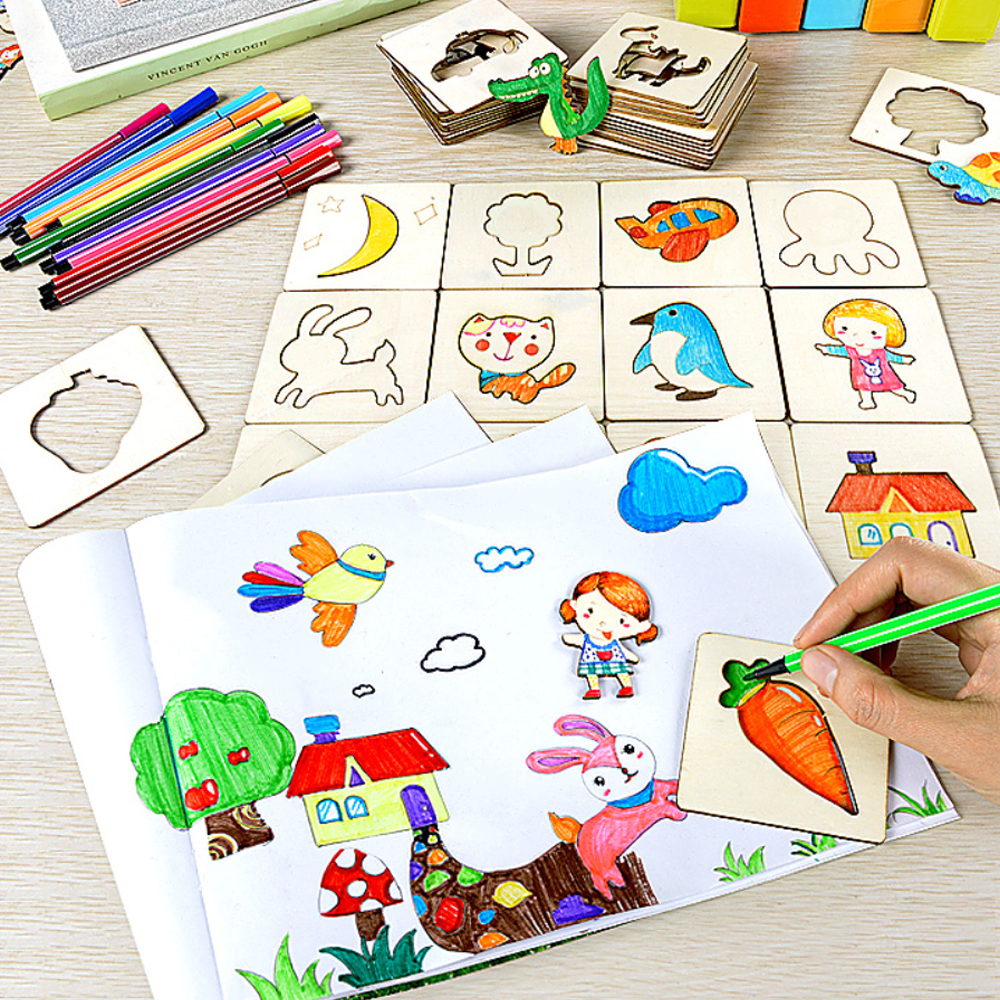 100+Pcs Painting Stencil Templates With Water Color Pen Set Stencil Creative Drawing Tools Gift For Kids Wooden Drawing Toys