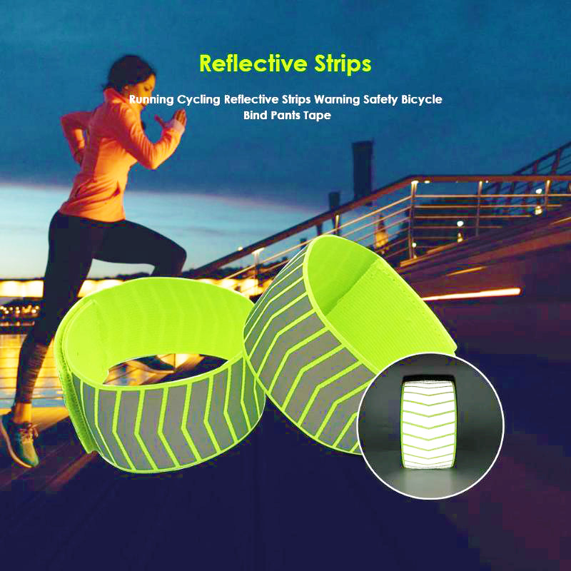 Running Cycling Reflective Strips Warning Bike Safety Bicycle Bind Pants Hand Leg Strap Reflective Tape 2019