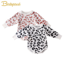 Leopard Baby Romper for Boys Girls Clothes Baby Winter Jumpsuit Knitted New Born Baby Girl Romper Toddler Onesie Newborn Costume christmas reindeer knitted newborn baby boys girls romper jumpsuit winter kids costume long sleeve pajamas overalls for children