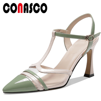 CONASCO Euro Style Summer Fashion Casual Women Cow Patent Leather Sandals T-Strap Mixed Colors Pointed Toe Thin Heel Shoes Woman