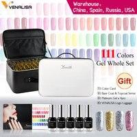 Nueva moda 120 Color 12ml Venalisa Gel polaco barniz de esmalte de Gel polaco para arte de uñas Diseño conjunto laca de Gel para uñas Kit de