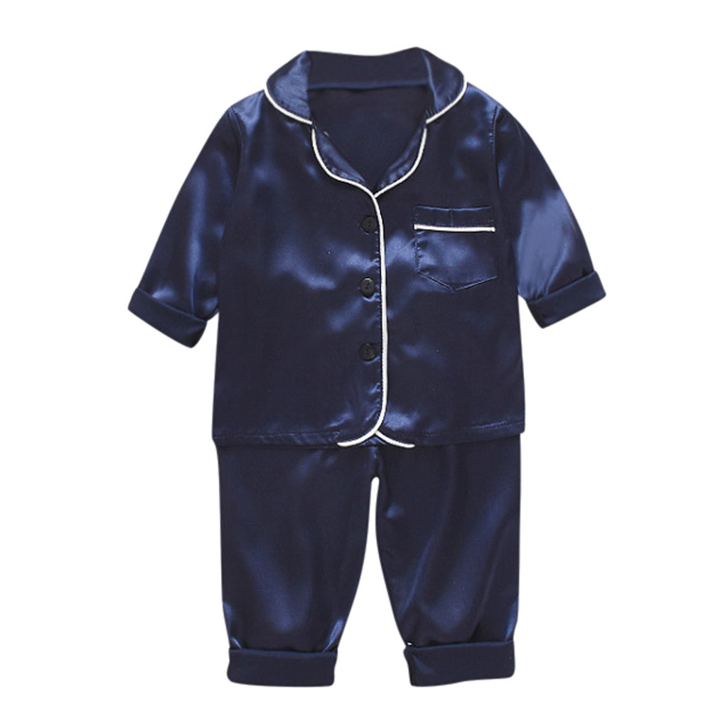 Toddler Baby Boys Girls 18 Months-7T Long Sleeve Solid Tops+Pants Pajamas Sleepwear Outfit