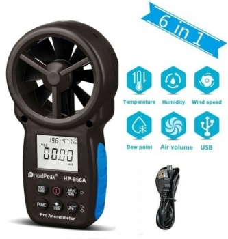 Digital Anemometer Handheld HP-866A with USB Connect Air Flow Meter Measure Wind Temperature/Speed Wind chill with MAX/MIN/AVG handheld digital anemometer wind speed meter air flow air velocity tester with bar graph bside eam02