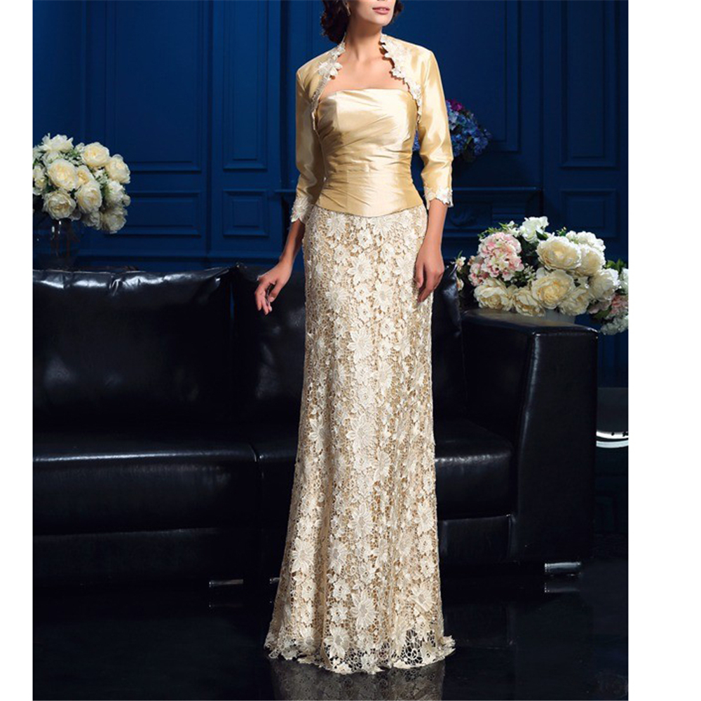 Khaki Taffeta And Lace Women's Dresses For Wedding A-line Vintages Full-Length Vintages Godmother In Wedding With 3/4 Jacket