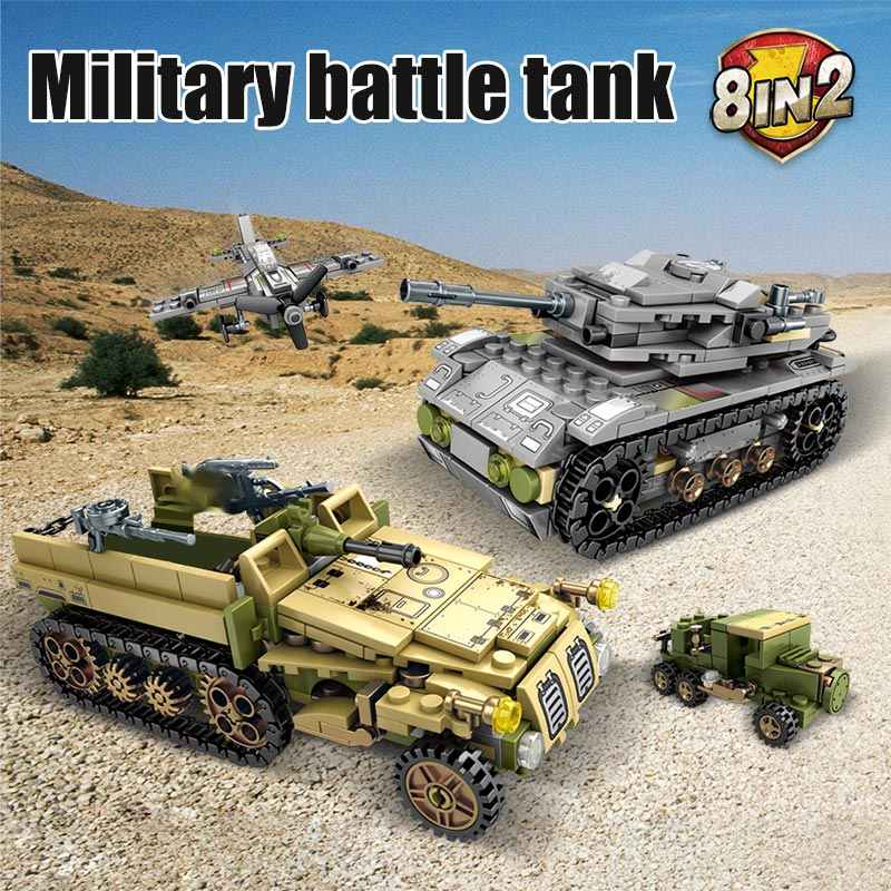 SEMBO 1061 sztuk WW2 deformacja wojna rydwan klocki wojskowe Technic Tank żołnierze sił zbrojnych figurki cegły zabawki dla chłopców
