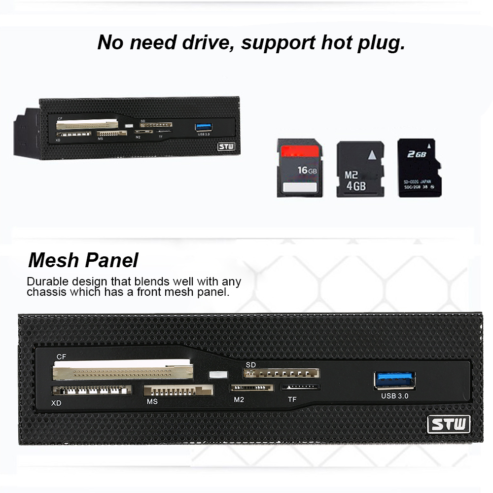 Media Dashboard PC Front Panel All In 1 Card Readers Support CF XD MS M2 TF SD 5.25 Front Panel USB 3.0 Internal Card Reader