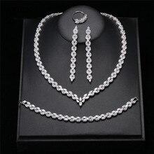 Classic Silver Cubic Zirconia Dubai Wedding Bridal Jewelry Sets CZ Cryatal Necklace Bracelet Ring Earring Full Jewelry Sets цена 2017