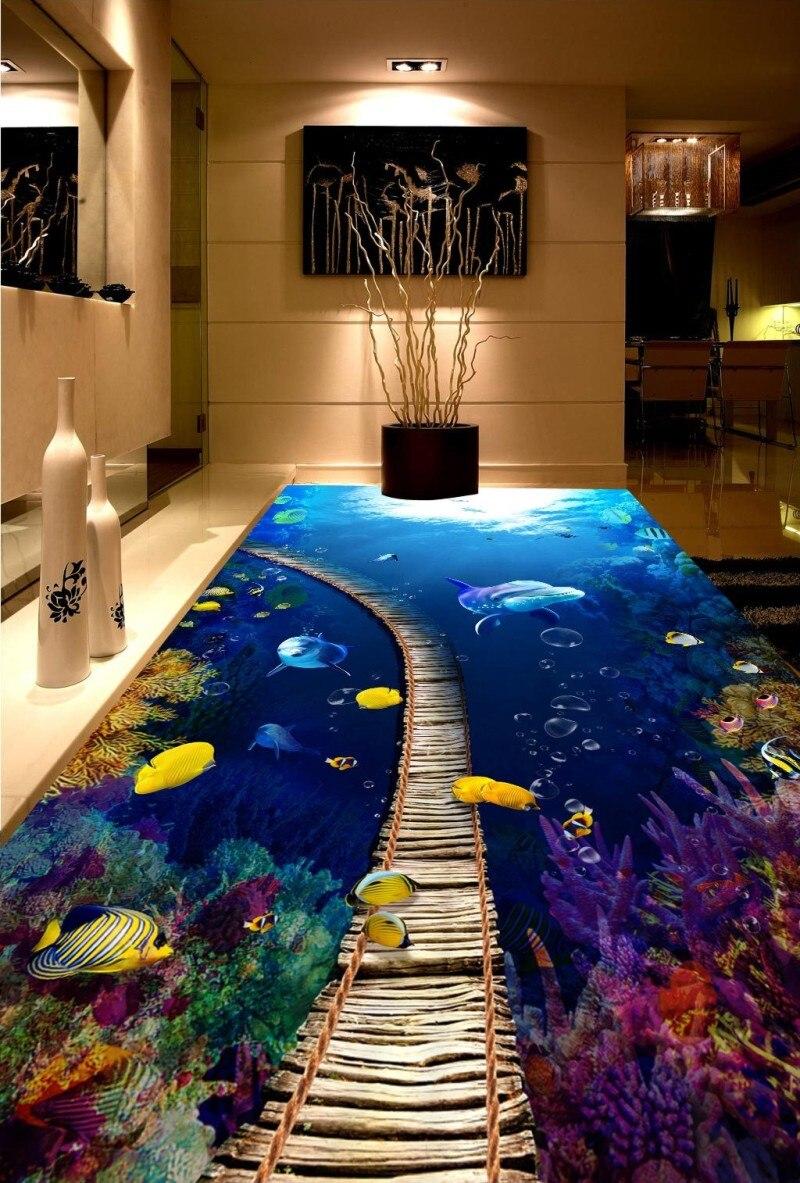 Salle de bain 3D sol peinture murale salon Restaurant auto-adhésif sous-marin monde rêve 3D étage