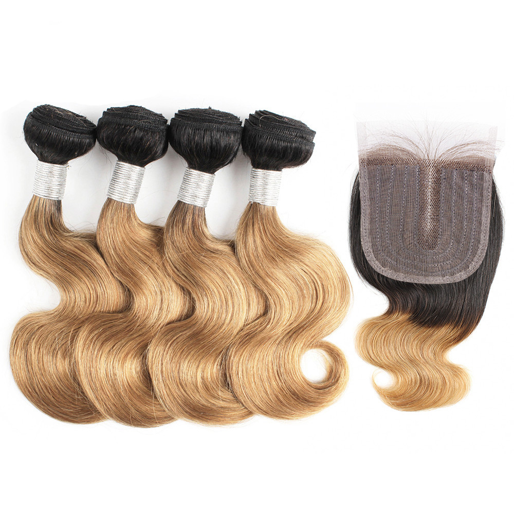 Bobbi Collection 50g/pc 4/6 Bundle with Lace Closure Middle Part Body Wave Remy Human Hair Weave Extension Ombre Honey Blonde