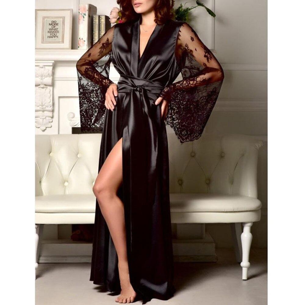 Women Nightwear Lace Satin Silk 2019 Sexy Belt Tie Lace Long Sleeve Sexy Homewear Sleepwear Robe For Women Plus Size Robe