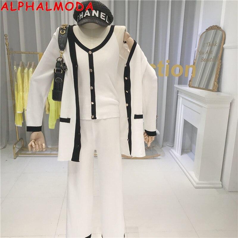 ALPHALMODA 2020 Spring Women Elegant 3pcs Knitting Suit Cardigans Long Cardigan Outfit + Single Breasted Tank Top +Wide-leg Pant