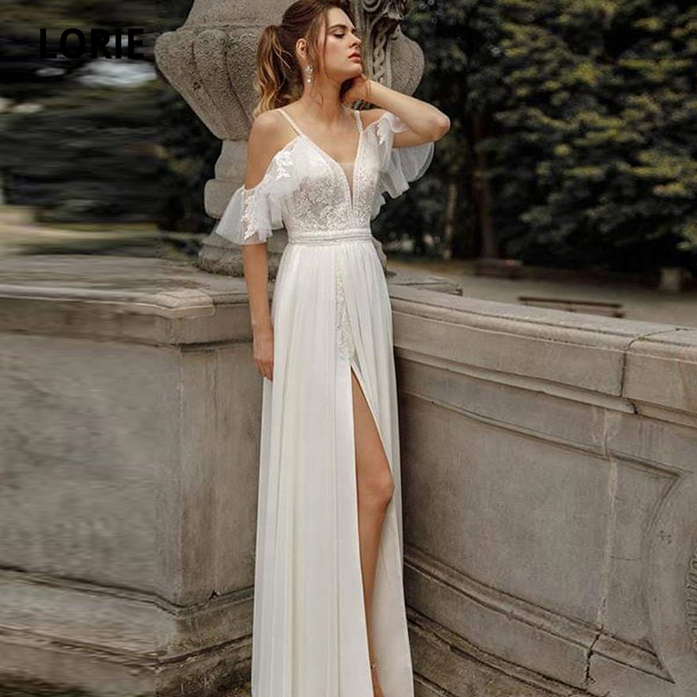 LORIE 2020 Spring Chiffon Wedding Dresses Lace Appliques Bridal Gowns Beach Boho Princess Party Gowns Sleeveless Bbackless Slit