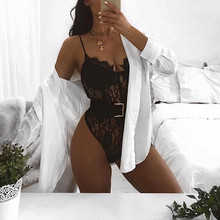 Lace Sling V-Neck Sleeveless Backless Solid Color Bodysuits Ladies Slim Streetwear Bodysuits