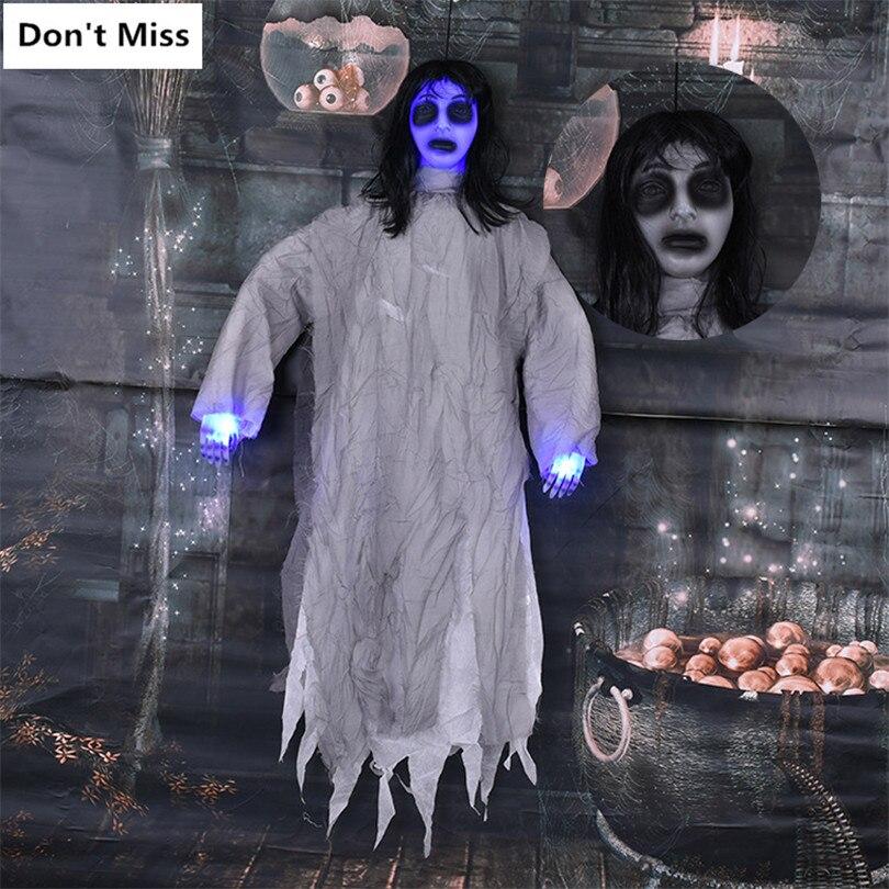 Halloween décoration fille fantôme électrique accrocher ornements horreur femmes poupée faire effrayant voix vert yeux main brillant fête décor