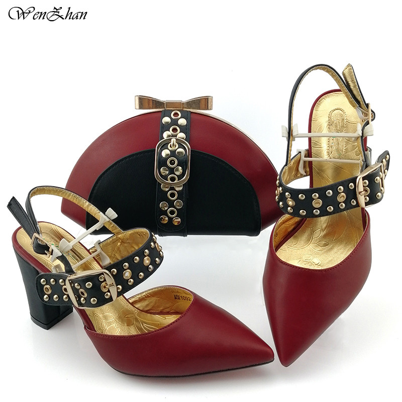 Hottest Wine Color Wedding Soft Heel Shoes With Clutch Bag Match Sets Autumn African Women Shoes and Bag 38-43 WENZHAN B99-10