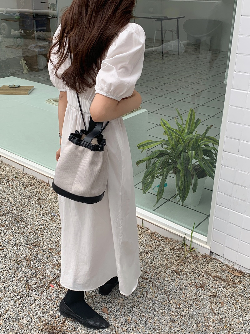 H0628c3ea5c0540a283fca2ddac02dce0S - Summer O-Neck Short Sleeves Elastic-Waist Calf Length Solid Dress