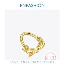 Enfashion овальное полое кольцо золотого цвета из нержавеющей