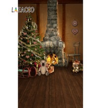 Laeacco Photography Backdrops Christmas Tree Gift Fireplace Wooden Floor Baby Interior Photographic Backgrounds For Photo Studio