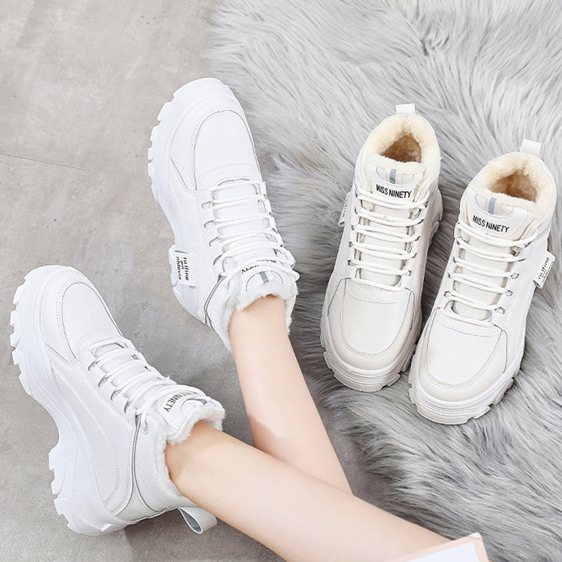 New Increase Women's Winter Sneakers Fur High Top Sneakers Chunky Sneakers Platform Ladies Casual Shoes Woman White Dad Shoes