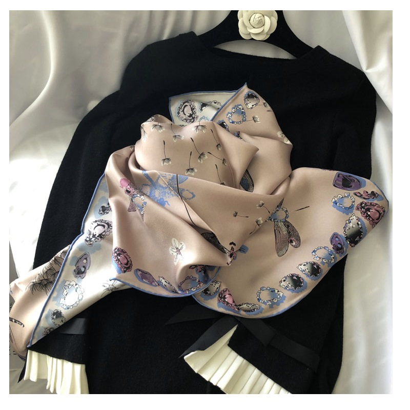 Elegant Print 100% Silk Scarf Hijab Head Scarves Foulard For Women Fashion Scarves 35