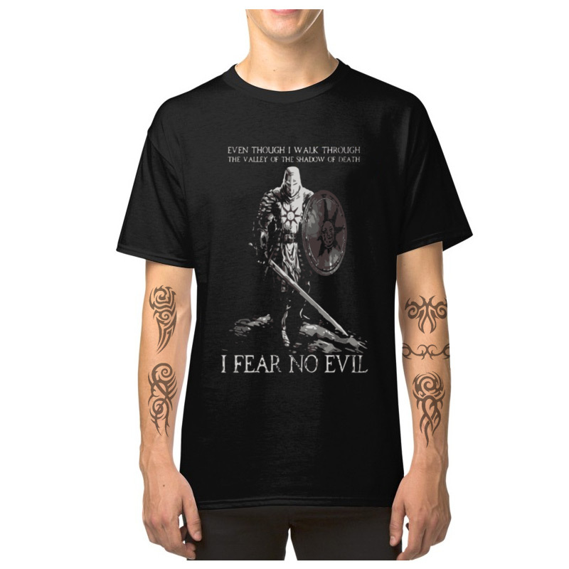 Dark Souls T-shirt Men Brothers Of Lordran I Fear No Evil Tshirt Praise The Sun Warrior Knight Tops Cotton Tees Game Of Thrones