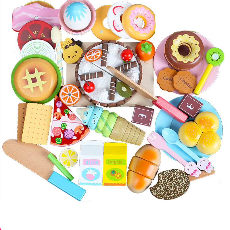 27 pièces enfants en bois cuisine jouet magnétique alimentaire coupe Desserts crème glacée Hamburger beignet Biscuit Non toxique semblant jouer cadeau d'anniversaire