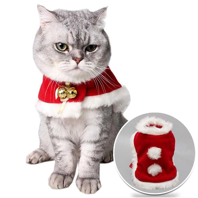 Adjustable Pet Christmas Costume Cape For Dogs Cats Cute Dog Cat Plush Lace Santa Claus Cloak With Hat Red Scarf Bib For Cats